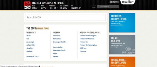 The Mozilla Developer Network is a repository of web development references.