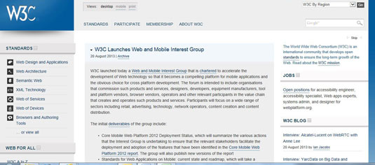 The World Wide Web Consortium, W3C, website.