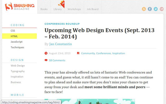 Smashing Magazine covers trends in web design and development.