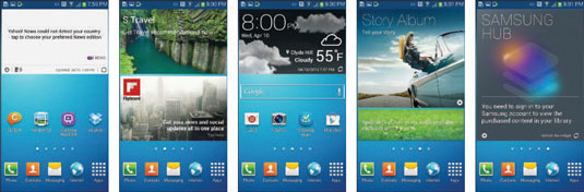 The extended Home screen on the Galaxy S4.