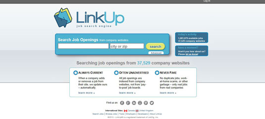 Jobs board LinkUp.com indexes jobs from