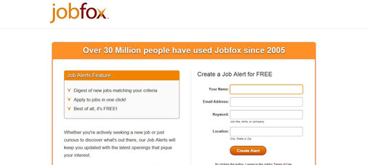 Home page for job board Jobfox.com