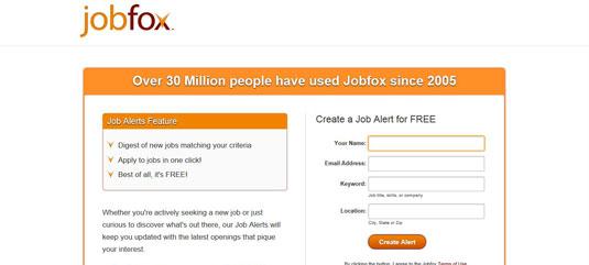 Home page for job board Jobfox.com