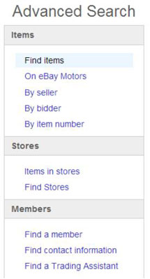 Types Of Advanced Searches On Ebay Dummies