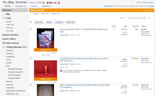 How To Monitor Ebay Auctions With The Watch List Dummies