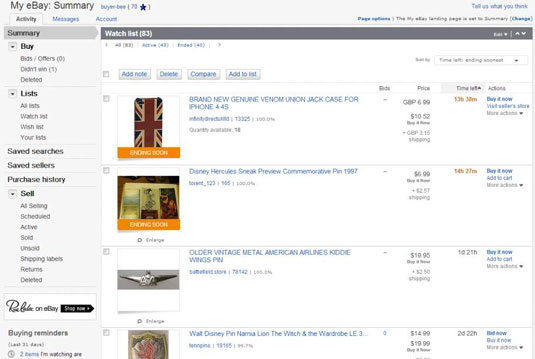 Exploring Your My Ebay Summary Page Dummies