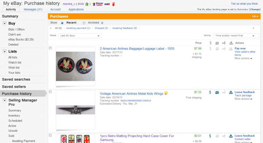 Ebay S Purchase History Link Dummies
