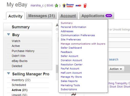 How To Navigate The My Ebay Account Tab Dummies