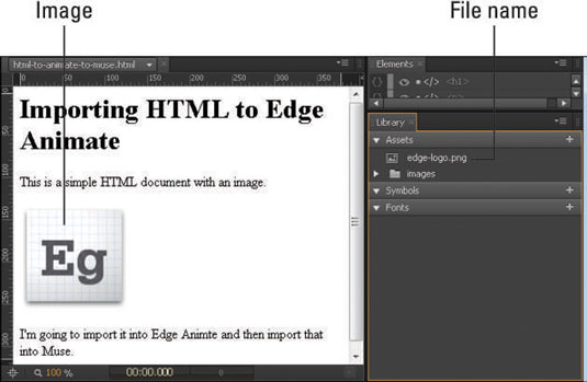 Here the original Edge Animate icon was imported as an asset into the Library panel.