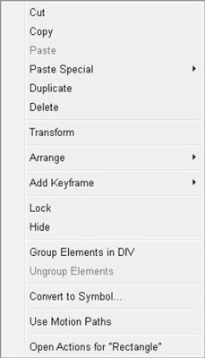 Right-click an element to open a large menu.