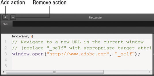 The Actions coding box looks like this with code in it.