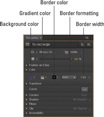 Color properties in the Properties Panel.