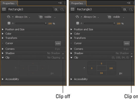 The default setting of the Clip attributes.
