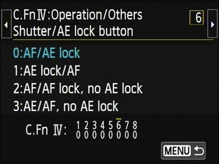 Canon's shutter/AE lock button customization screen.