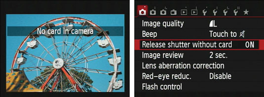 Canon's menu setting where you can disable shutter release without a memory card.