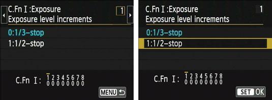 Exposure level settings on a Canon t5i camera.