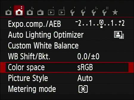 Settings menu in a Canon t5i.