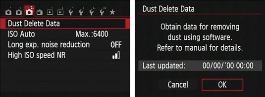 The Shooting Menu and Dust Delete Data screens on a Canon t5i.