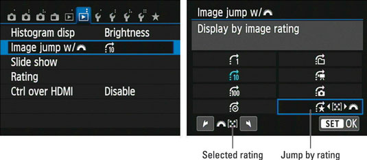 The Jump settings on a Canon t5i.
