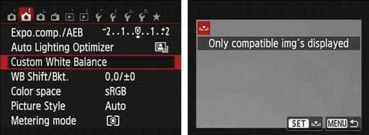 Shooting Menu and Custom White Balance setting screens from a Canon digital camera.