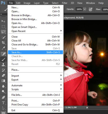 Menus in Photoshop let you choose and control different options.