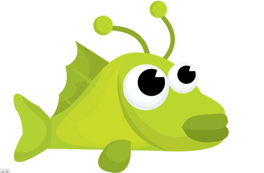 Drawing of a green fish.