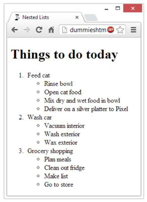How to Create Nested Lists in HTML5 - dummies