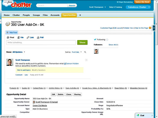 Chatter provides social commenting on records in Salesforce.com CRM.