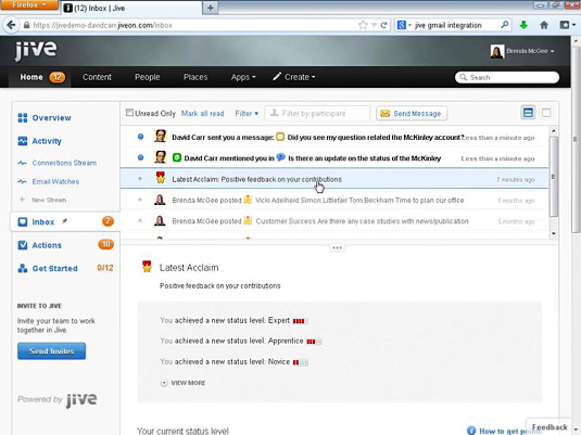 The Jive Inbox displays messages and notifications specifically addressed to you.