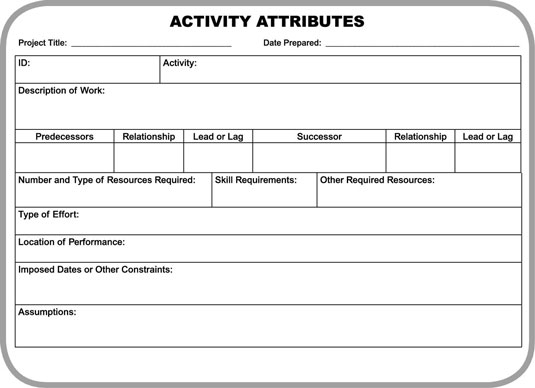 An Activity Attributes form.