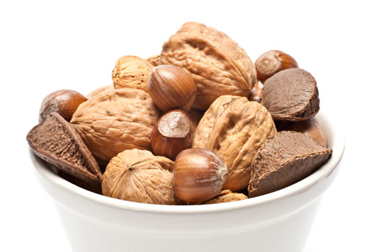 A bowl full of nuts.