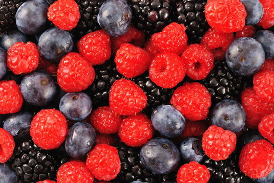 Blueberries, blackberries and raspberries.
