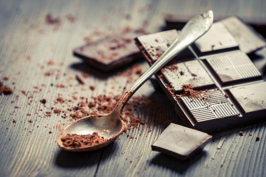 A bar of dark chocolate.