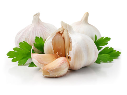 Three garlic cloves.