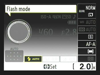 The fastest way to change the Flash mode is to hold down the Flash button while rotating the Comman
