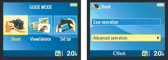 Select Advanced Operation to access settings that enable you to adjust depth of field and motion bl