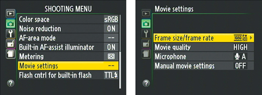 how to set video quality on your nikon d3200 dummies rh dummies com Nikon D3100 Video Mode Nikon D3100 Manual