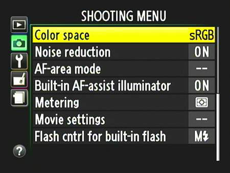 Change the Color Space setting via the Shooting menu.