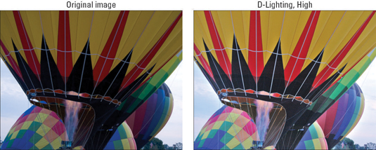 An underexposed photo (left) gets help from the D-Lighting filter (right).