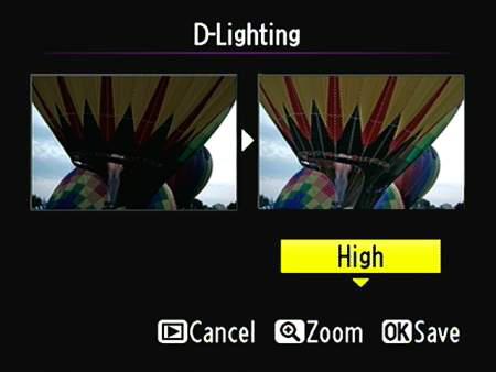Apply the D-Lighting filter via the Retouch menu.