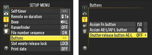 If you turn this option on, pressing the shutter button halfway locks exposure and focus.