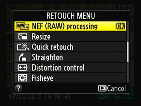 In single-image playback mode, press OK to display the Retouch menu over your photo.