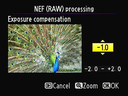 After selecting the Exposure Compensation option on the main NEF processing screen, press OK to acc