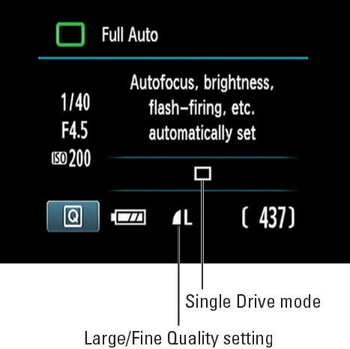 The Shooting Settings display in a Canon digital camera.
