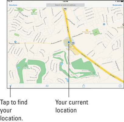 Find Your Current Location With Ipad S Maps App Dummies