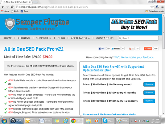 Semper Plugins' All in One SEO Pack provides search engine optimization.