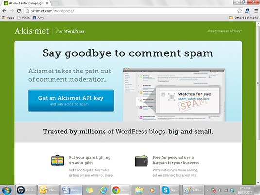 The Akismat plug-in helps bloggers keep spam out of their blog comments.