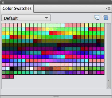 Choose and store colors in the Color Swatches panel.