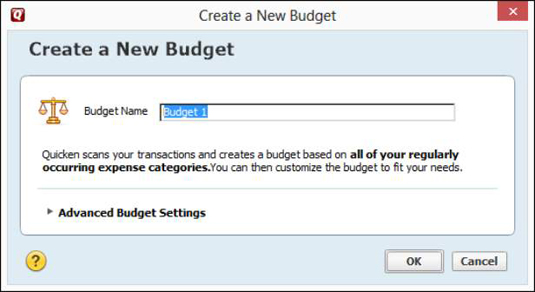 The Create a New Budget dialog box.