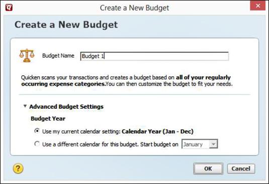 The Advanced Budget Setup window.
